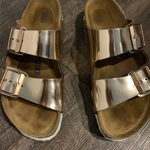 Birkenstock Rose Gold Arizona Sandals Size 38